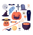 halloween set spider web and pumpkin bat and vector image