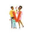 happy couple in love holding red letter v vector image vector image