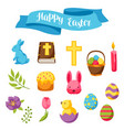 happy easter set decorative objects eggs and vector image