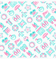 holiday seamless pattern with thin line icons vector image