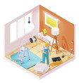 isometric electrician working in room vector image vector image