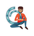 man sitting with smartphone and video tape vector image vector image