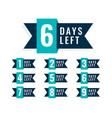 number days left badge design vector image vector image