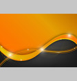 orange and black wave abstract background with vector image vector image