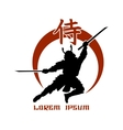 Oriental martial arts Samurai fight club logo vector image vector image