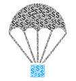 parachute collage of dollar vector image vector image