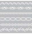 Pearl realistic seamless borders set vector image vector image
