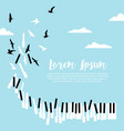piano keys and flying birds in blue sky vector image