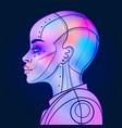 portrait robot android woman in retro futurism vector image