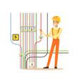 professional electrician man character repairing vector image vector image