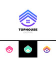 real estate house logo top arrow up house vector image