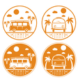 retro bus with surfboard labels set vector image