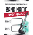 rock music concert poster with electric guitar vector image vector image