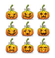 set halloween scary pumpkins vector image
