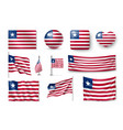 set liberia flags banners banners symbols vector image