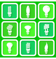 Set of 9 green icons of energy saving lamps vector image