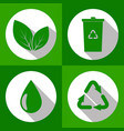 set of ecology icons with long shadow green color vector image