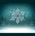 shining white texture snowflake on the blue forest vector image vector image