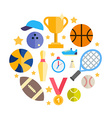 sport equipment and objects in shape circle vector image