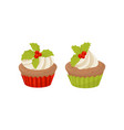 tasty christmas cupcakes decorated with whipped vector image vector image