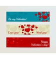 Valentines Day Horizontal Banners Set with Hearts vector image