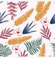 vivid multicolor leaves flowers seamless white vector image