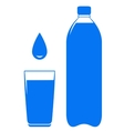 water bottle glass and drop vector image vector image