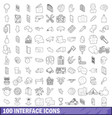 100 interface icons set outline style vector image