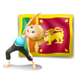A girl in front of the flag of Sri Lanka vector image vector image