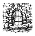 Arched door in a stone wall scatch vector image vector image
