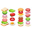 burger and sandwich ingredients set bun cheese vector image