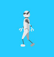 cartoon color android robot on a blue vector image