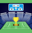 cartoon football field with a golden cup vector image vector image