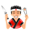 cartoon japanese sushi chef isolated vector image vector image