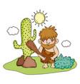 caveman comic character iccon vector image
