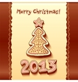 Christmas tree chocolate honey-cakes background vector image vector image