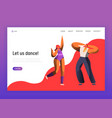 couple dance at night club landing page template vector image