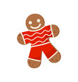 cute gingerbread man decorated with colored icing vector image