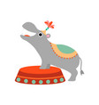 cute hippo at stage funny animal performing in vector image vector image