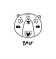 cute simple bear face cartoon style vector image vector image