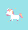cute unicorn baby pony for fairy animal concept vector image