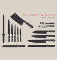 cutting knives set vector image vector image