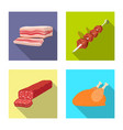 design of meat and ham symbol collection vector image
