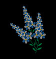 embroidery is smooth embroidery with blue flowers vector image vector image