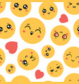 emoticons seamless pattern emoji happy faces for vector image