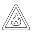 flammable sign thin line icon warning and vector image vector image