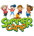 font design for word summer camp on white vector image