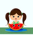 girl and watermelon smile in cartoon style vector image vector image