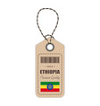 hang tag made in ethiopia with flag icon isolated vector image vector image