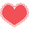 heart shape lace doily white on red background vector image vector image